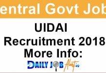 UIDAI Recruitment 2018