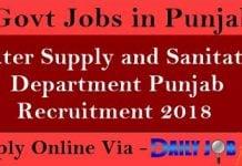 Water Supply and Sanitation Department Punjab Recruitment 2018
