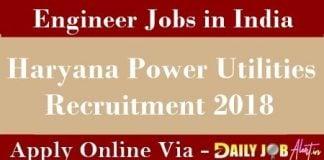 Haryana Power Utilities Recruitment 2018