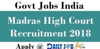 Madras High Court Recruitment 2018