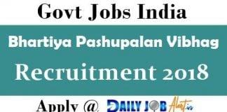 Bhartiya Pashupalan Vibhag Recruitment 2018