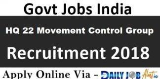HQ 22 Movement Control Group Recruitment 2018